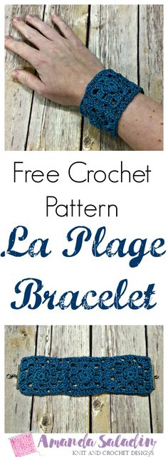 The La Plage Bracelet is an easy crochet bracelet pattern made from three simple granny squares finished off with end bars and a lobster clasp. Free pattern
