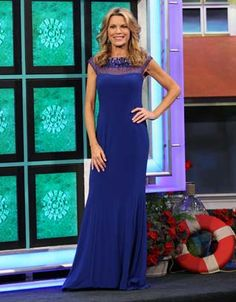 LM COLLECTION: Cobalt blue jersey gown w/blue illusion top & shoulders enhanced w/blue & silver rhinestones & beads | Vanna White's dresses | Wheel of Fortune