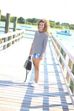 beach girl, shein shirt, stripe shirt, long sleeve stripe shirt, kid's, women's kid's, white ked's, distressed denim shorts, pier pictures, pictures on the dock, affordable fashion blog, affordable fashion blogger, charlotte nc blogger, clt blogger, natural curls, morgan flinchum, how 2 wear it