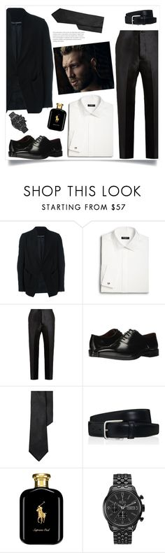 """Black suit!!"" by tlb0318 ❤ liked on Polyvore featuring Cedric Jacquemyn, Saks Fifth Avenue, Bottega Veneta, Massimo Matteo, Lauren Ralph Lauren, Tod's, Polo Ralph Lauren, Bulova, men's fashion and menswear"