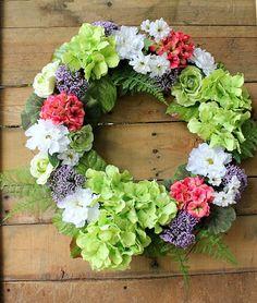 Hydrangea Wreath ~ Summer Wreath ~ Floral Wreath ~ Cottage Wreath