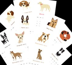 "2014 Calendar. Twelve (12) adorable dog illustrations, one for each month 5.5"" x 8.5"""