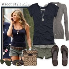 Navy and gray casual outfit.  Perfect for college students!