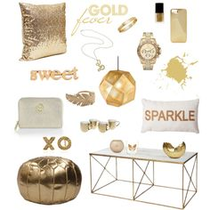 A home decor collage from January 2014 featuring gold ottoman, modern furniture and industrial ceiling lights. Industrial Ceiling Lights, Modern Furniture, Ottoman, Home And Garden, Sparkle, Place Card Holders, Babies, Polyvore, Gold
