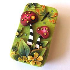 wild Mushrooms Slide Top Tin Sewing Needle Case by Claybykim, $16.00