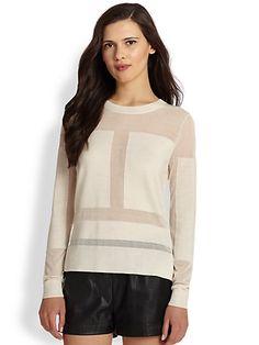 BCBGMAXAZRIA - Geometric Paneled Sheer Wool-Blend Sweater - Saks.com
