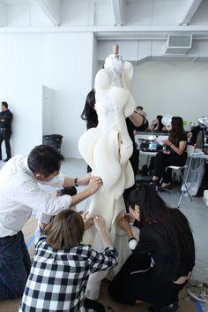 Backstage at Thom Browne RTW Spring 2014 [Photo by Todd Matarazzo] Space Fashion, World Of Fashion, High Fashion, Fashion Show, Fashion Design, Stockman Mannequin, Ze Garcia, Pattern Draping, Gala Dresses