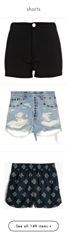 """shorts"" by asiebenthaler ❤ liked on Polyvore featuring shorts, bottoms, pants, short, river island, short shorts, river island shorts, denim, bleached denim shorts and destroyed shorts"
