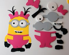 DIY girl minion birthday party game Girl minion party game Girl minion cutout Girl minion party favors Girl minion birthday party decoration - pinned by pin4etsy.com