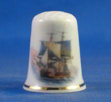 FINE PORCELAIN CHINA THIMBLE - HMS BOUNTY -- FAMOUS MUTINY -- FREE GIFT BOX