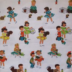 Vintage Juvenile Gift Wrap Wrapping Paper by MidCenturyAddiction, $5.25