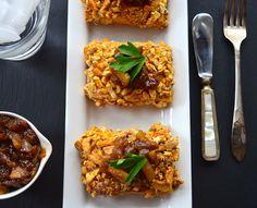 #Vegan Pretzel & Cashew Crusted Tofu w/ Sweet Onion Chutney #recipe via @ourpassion4food #Thanksgiving