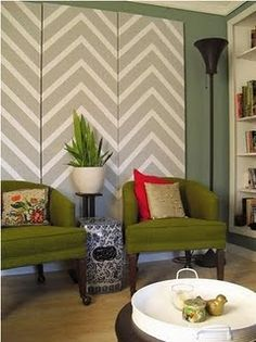 I have a tiny little crush on Chevron prints. Ok, not tiny- it's a rather large crush on Chevron. Chevron Wall Art, Diy Wall Art, Wall Decor, Room Decor, Chevron Walls, Chevron Headboard, Gray Chevron, My Living Room, Living Spaces