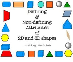 Smartboard lesson to teach about defining and non-defining attributes of 2d and 3d shapes (.notebook file) $