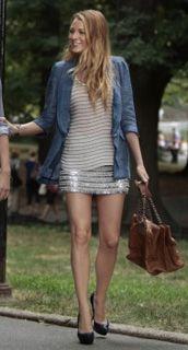 Sequined skirt, denim blazer