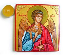 Guardian Angel Icon  handpainted icon orthodox style by iconsart, $85.00