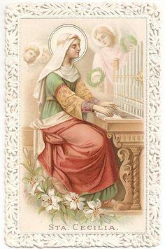 Musicians Patron Saint St. Cecilia Antique Spanish Embossed