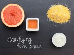 Clarifying scrub Mix together ½ cup plain yogurt, ½ cup cornmeal, and ¼ cup grapefruit juice.  Refrigerate to thicken. Spread on irritated patches or breakouts once a week to soothe and cool skin.