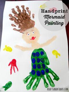 Handprint Mermaid Painting craft for kids