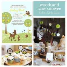 WOODLANDS BABY SHOWER | DIY Deluxe Printable Party Package. Woodland Baby Shower COLLECTION ...
