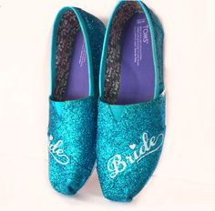 $10 OFF with code: PINNED10 Womens sparkly Glitter Toms Turquoise Something Blue Weddings Bride Shoes - Glitter Shoe Co