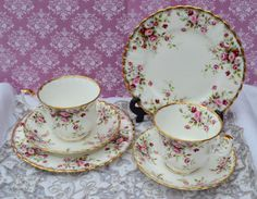 Royal Albert Cottage Garden Pair of Tea Trios, Vintage Bone China Tea cups, Saucers, Tea Plates, Rose Spray Pattern and Gilt