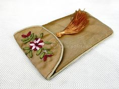SILK EMBROIDERED PHONE CASE BEIGE   chinese embroidery tutorial