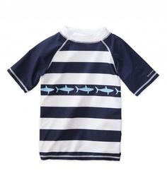 Short Sleeve Striped Shark Rash Guard | CWDkids
