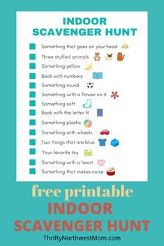 Indoor Scavenger Hunt for Kids Free Printable