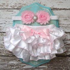 Baby Girl Ruffle Bum Bloomers Satin Diaper Cover White Pink Headband Set 6 12 18 months Photography Prop CAKE SMASH