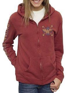 Junk Food Wonder Woman Vintage Tried and True Full Zip Sedona Juniors Hooded Sweatshirt