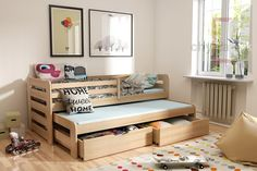 KOBI borovica vyvýšená posteľ s prístelkou a úložným priestorom