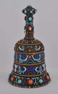 Vintage Chinese Silver Cloisonne Enamel Bell Box w Natural Turquoise Coral