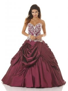Appliqued Taffeta Wrinkled Ball Gown Quinceanera Dress