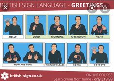 Learn to sign hello good morning good afternoon good evening how are you? thank you please sorry bye in British Sign Language Baby Sign Language Video, Sign Language Phrases, Sign Language Interpreter, Learn Bsl, Learn To Sign, Learn Asl Online, British Sign Language, Kids Sleep, Child Sleep