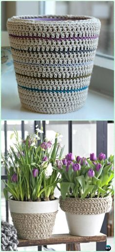 Crochet Double Crochet Planter Pot Cozy Free Pattern - Crochet Plant Pot Cozy Free Patterns