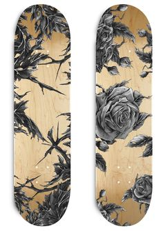 This is no longer a skateboard, it's an art board. One is a beautifully drawn rose with others surrounding it. The other is some tree branches with leaves on them. Together, they're both amazing. Skateboard Deck Art, Skateboard Design, Skates, Art Patin, Longboard Design, Skate Art, Cool Skateboards, Skate Decks, Skate Style