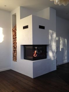 Big modern fireplace