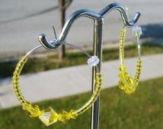 Citrine Crystal Hoop Earrings by Michellescustomjewelry for $6.00