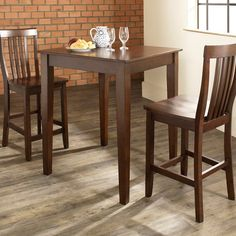Crosley 3-Piece Pub Dining Set with Tapered Leg and School House Stools | from hayneedle.com