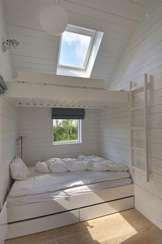 A setup that saves a lot of space and works well for visiting crowds, bunks (with under the bed storage) are another Nordic cottage staple: See 24 Built-In Bunks for Summer Sleepovers. This Danish summer house was designed by Norwegian JVA Architects via House Design, Small Spaces, Interior, Home, House Inspiration, House Interior, Bed, Bunk Beds Built In, Little Houses
