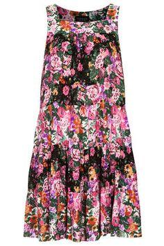 Tiered Garden Print Smock Dress - Dresses - Clothing