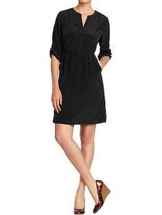 Women's Split-Neck Tab-Sleeve Crepe Dress (Black Jack). Old Navy. $29.94