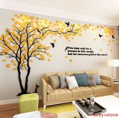 Buy Hot Sale Creative Tree Stereo Acrylic Wall Sticker Living Room Sofa TV Background Wall Interior Room Warm Decor at Wish - Shopping Made Fun Tree Wall Painting, Wall Painting Living Room, Tree Wall Murals, Family Tree Wall Decal, Wall Paintings, Mural Art, Bedroom Wall Designs, Bedroom Murals, Wall Stickers Home Decor