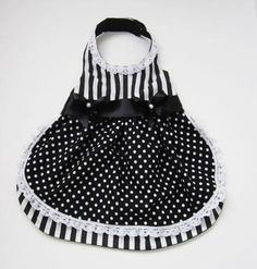 Dog Dress: Fancy Black and White Stripes and Polka Dots miascloset Handmade Perfect for those spring or summer parties! A fully lined fancy dog dress with black and white stripes contrasted with a polka dot apron and lace. Lace also around the collar and two black satin ribbons and
