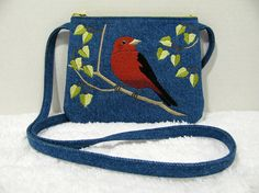 Small Denim Purse Long Strap, Embroidered Scarlett Tanager - Womens Shoulder Bag, Wild Bird Embroidery