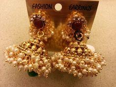 Golden pearl jhumka