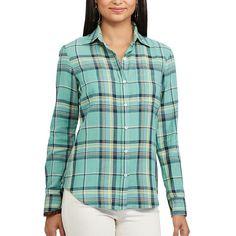 Petite Chaps Plaid Twill Shirt, Women's, Size: Xl Petite, Green Oth