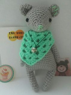 Crochet amigurumi gray bear by twosunshandmade