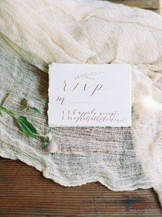Gold leaf calligraphy RSVPs: http://www.stylemepretty.com/2015/09/16/rustic-elegant-tuckahoe-plantation-wedding-inspiration/ | Photography: Kate Ignatowski - http://www.kateignatowski.com/
